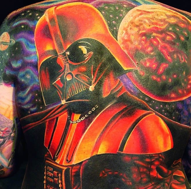 A detail shot of an awesome Darth Vader back piece done by Brandon Bond.