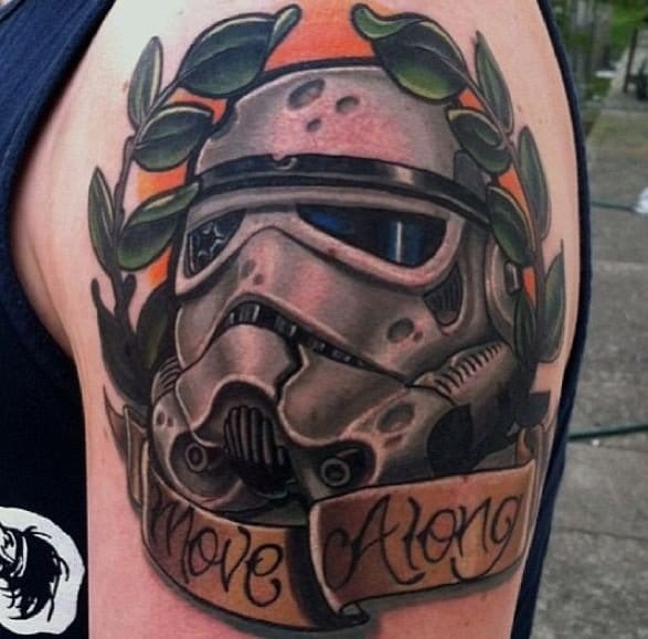 Another neo-traditional Storm Trooper tattoo.