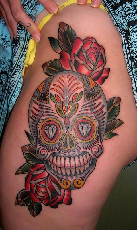 Sugar Skulls look less horrific with Roses, Diamonds, and other mild elements and patterns.