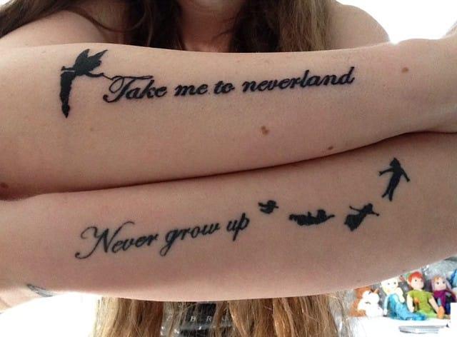 Minimalist Peter Pan flying tattoo of Katie