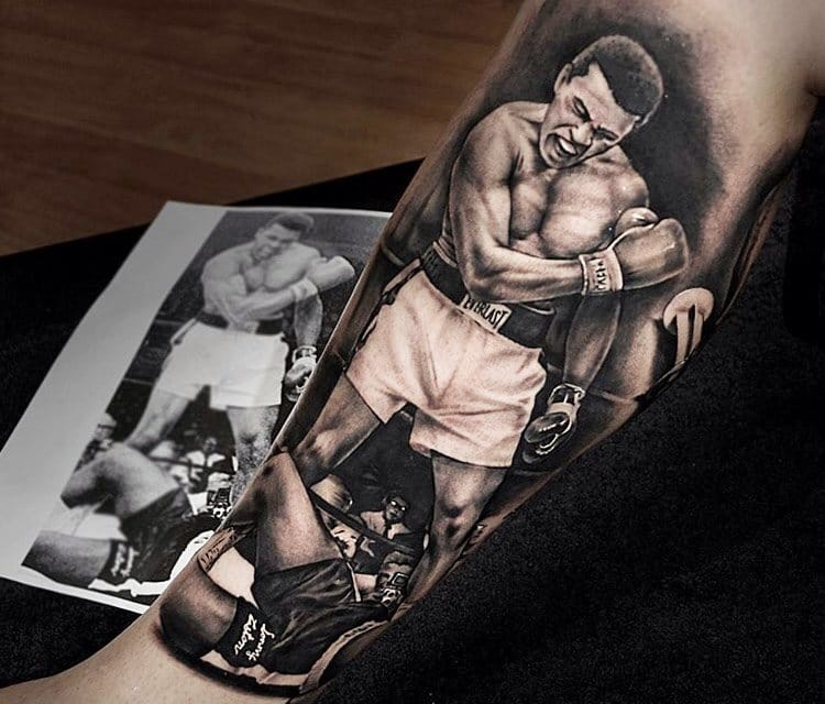 Stunning black and gray Ali tattoo by Benjamin Laukis