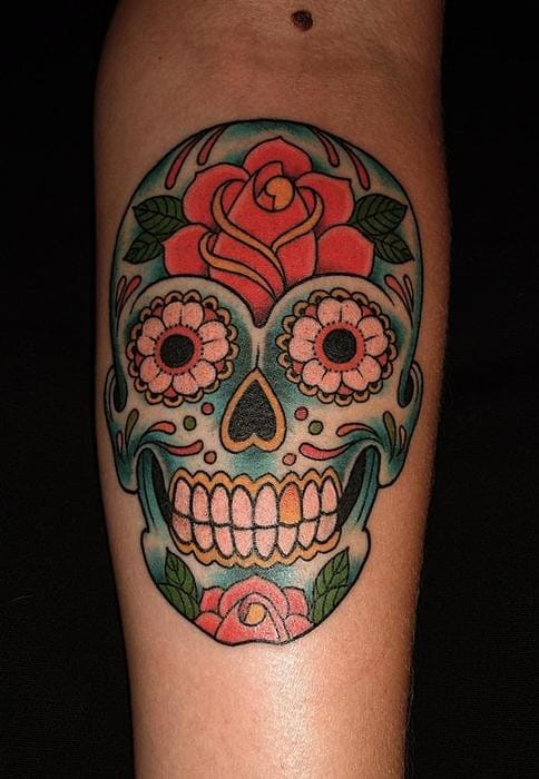 A good Sugar Skull tattoo should look simple and bold, can be detailed but not overdone.