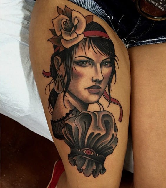 Lemony Snicket's Violet tattoo by Chris Primm