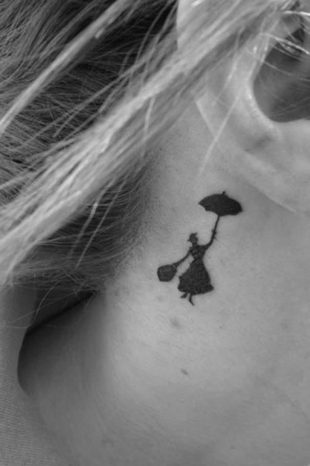 Behind the ear Mary Poppins tattoo, artist unknown.