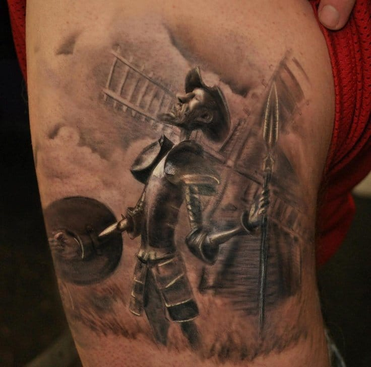 Don Quixote tattoo by Done by Scott Versago at Empire Ink in Akron, Ohio