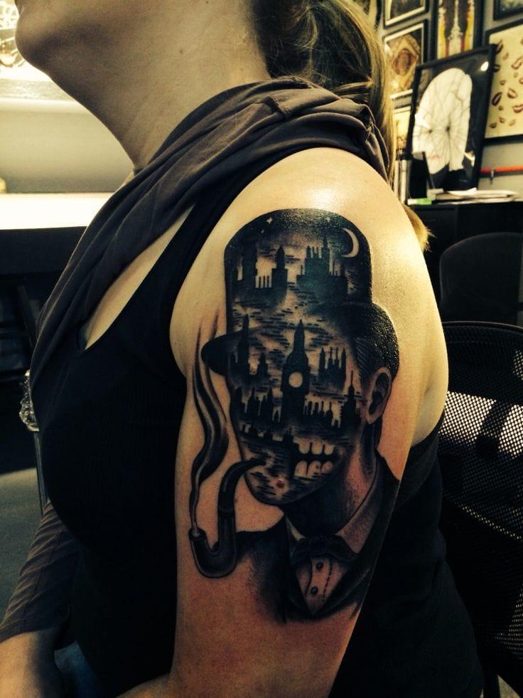 Sherlock Holmes tattoo by Joel Thompson