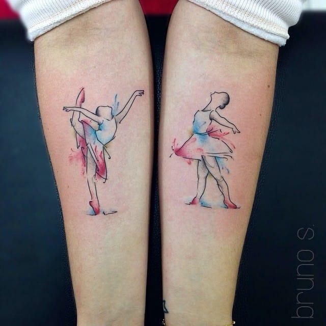 Nice matching tattoos by Bruno Santos.