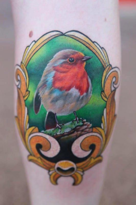 Gorgeous Framed Robin Tattoo by Phatt German