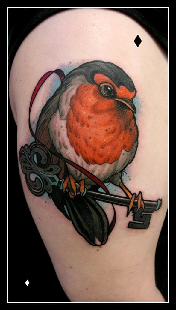 Bold Robin Tattoo by Daniel Gensch