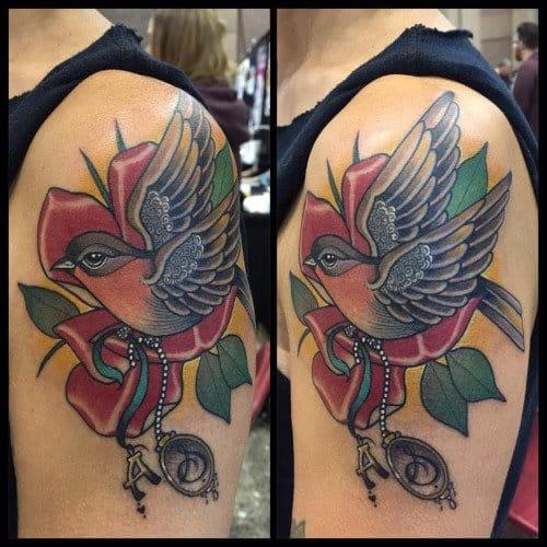 New School Robin Tattoo by Guen Douglas