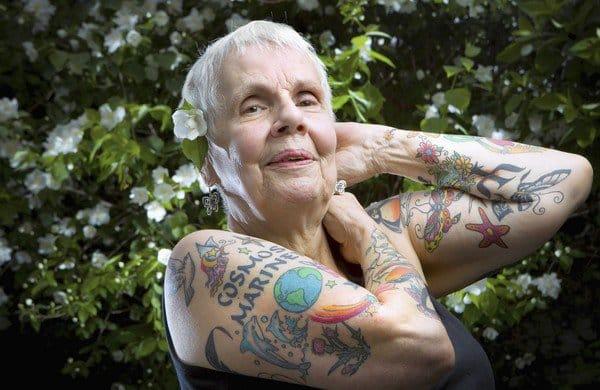 Elderly lady with tattoos