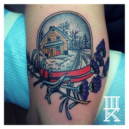 Snow Globe House Tattoo by Three Kings Tattoo