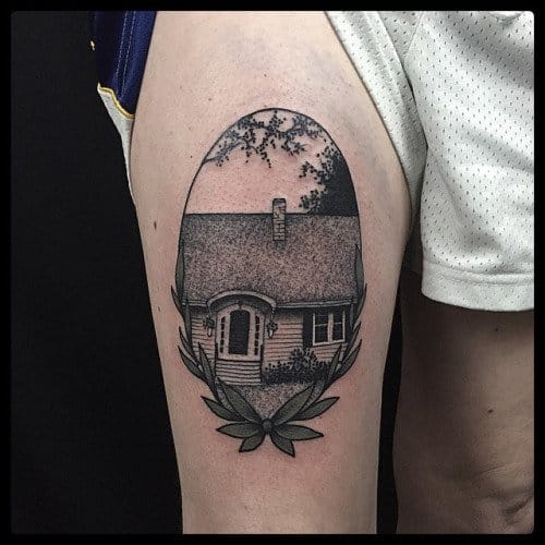 Cute Cottage Tattoo by Erik Jacobsen