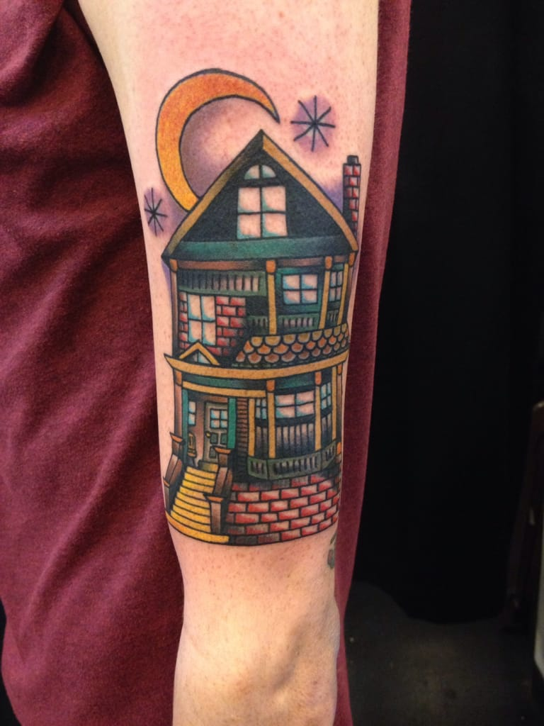Traditional House Tattoo by Kyle Crowell