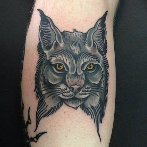 Lynx Head Tattoo, unknown artist