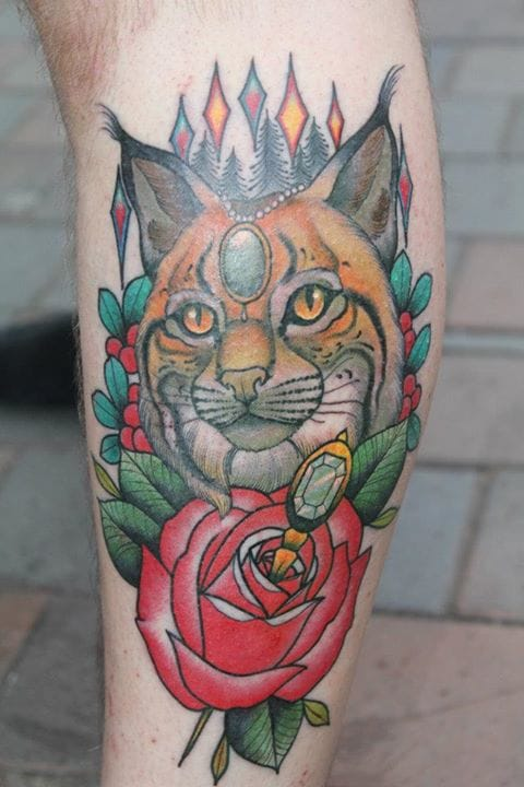 Lynx Rose Tattoo by Roger Axelsson