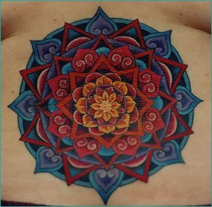 Colorful geometric tattoo by Patrick Sans #colorful #mandala #patricksans