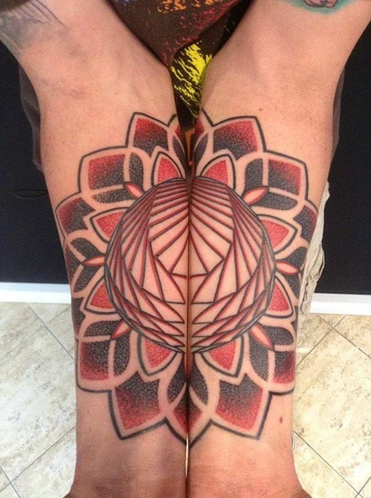 Tattoo by Pierluigi Deliperi #mandala #matching #red #PierluigiDeliperi