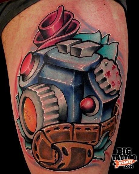 SLR Film Camera Tattoo by Jeremy Miller