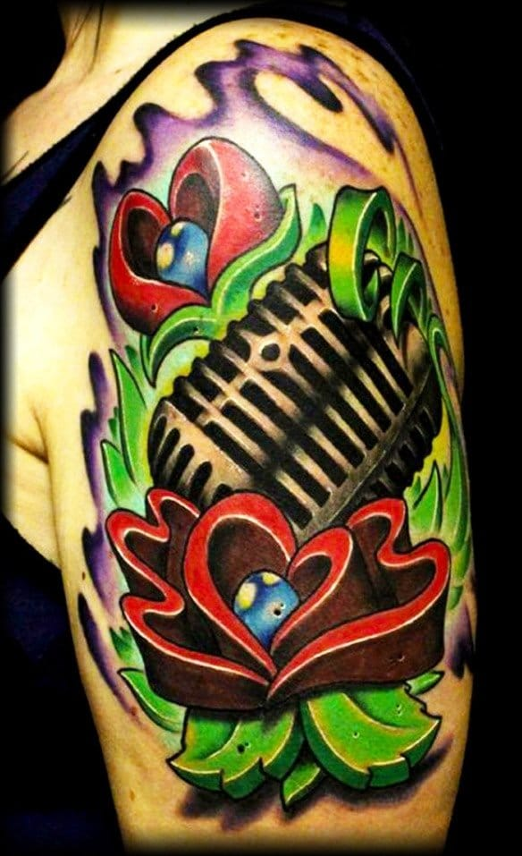 Microphone Tattoo by Jeremy Miller