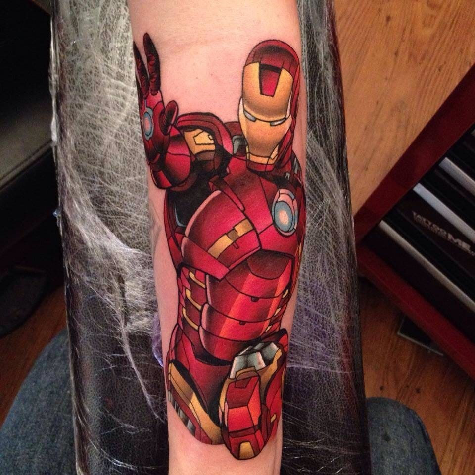 Solid comic book style rendering of Iron Man