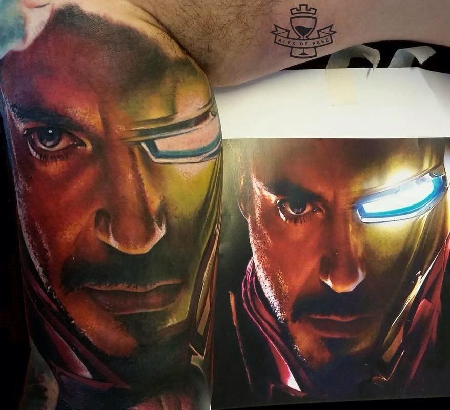 Half Tony Stark half Iron Man inner arm tattoo by the amazing Alex De Pase