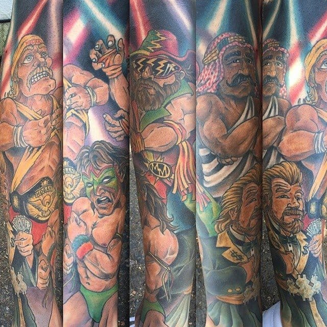 Wrestling themed tattoo featuring Hulk Hogan and other WWE super stars.