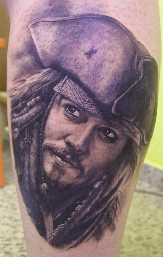 Very smooth photo realistic tattoo portrait of Captain Jack Sparrow