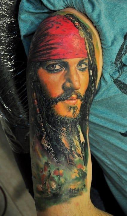 Jack Sparrow portrait with battle ship scene