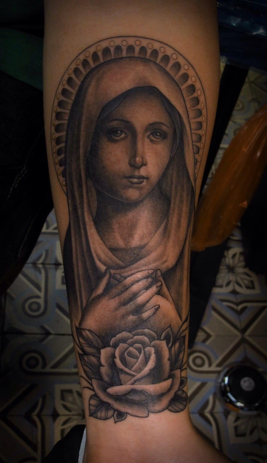 Beautiful Virgin Mary with Rose done by Tim Hendricks