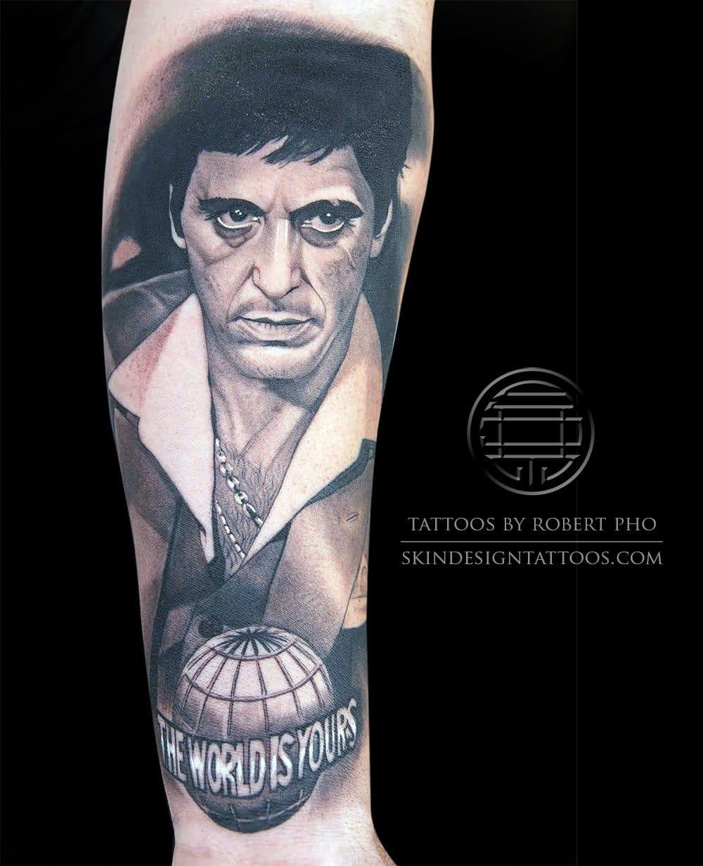 Beautiful Scarface tattoo by Robert Pho