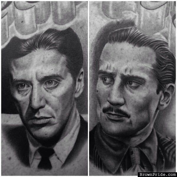 Al Pacino and Robert De Niro, the Corleones in The Godfather