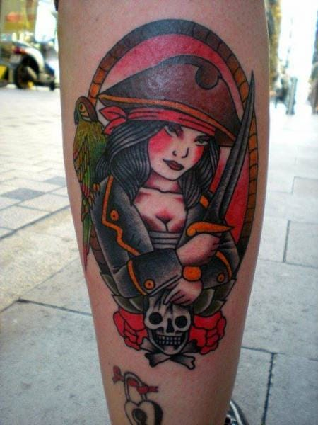 Traditional Pirate Girl Tattoo by Tattoo Tai
