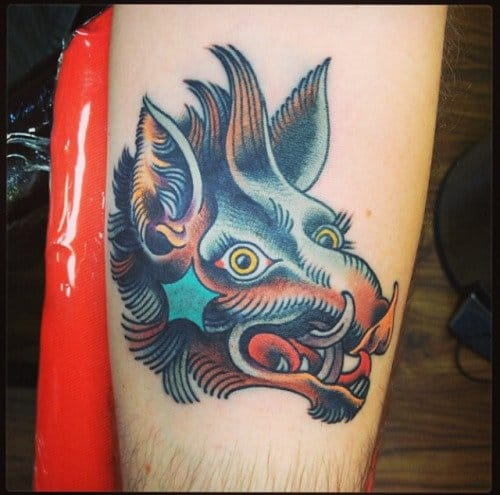 Bright Boar Tattoo by Jen Munford