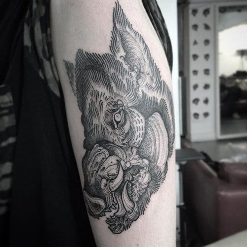 Linework Boar Tattoo by Nomi Chi