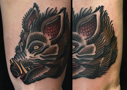 Old School Boar Tattoo by Philip Yarnell