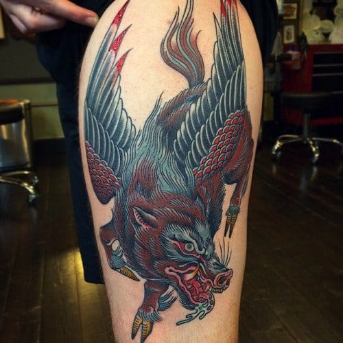 Winged Boar Tattoo by Greggletron