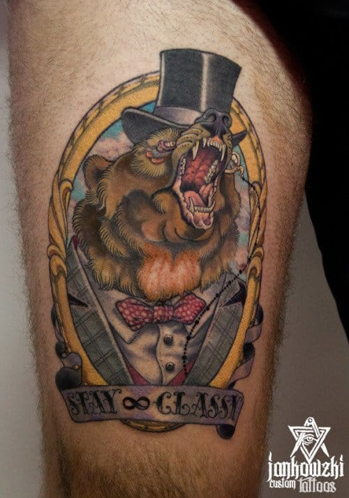 Bear Top Hat Tattoo by Jankowzki Tattoo