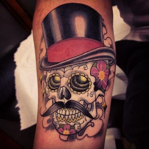 Sugar Skull Top Hat Tattoo by Deluxe Tattoo Co