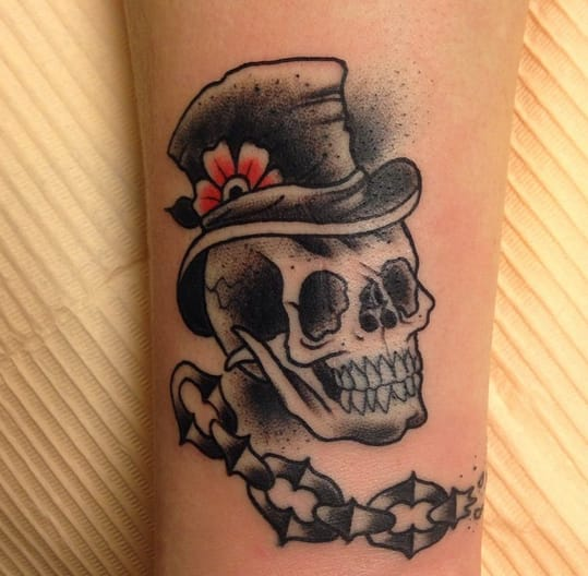 Top Hat Skull Tattoo by Vincent Brun