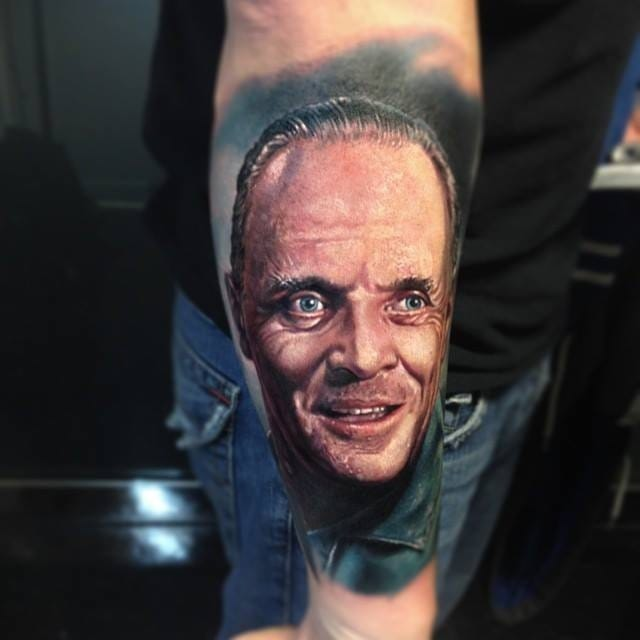 Hannibal Lecter tattoo by Paul Acker