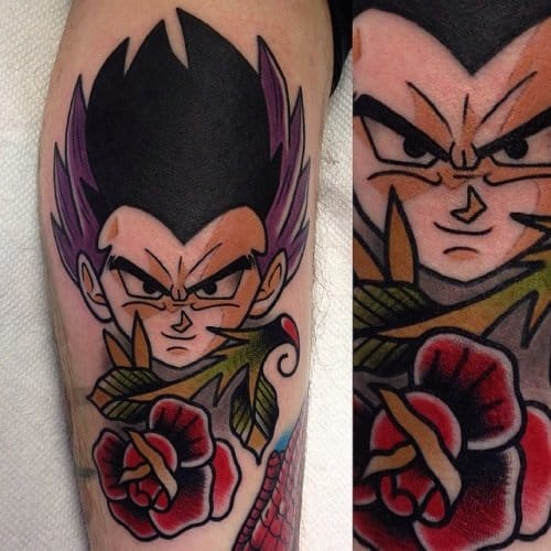 Traditional style Gotenks tattoo with rose.