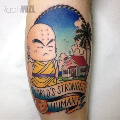 Funny old school Krillin tattoo
