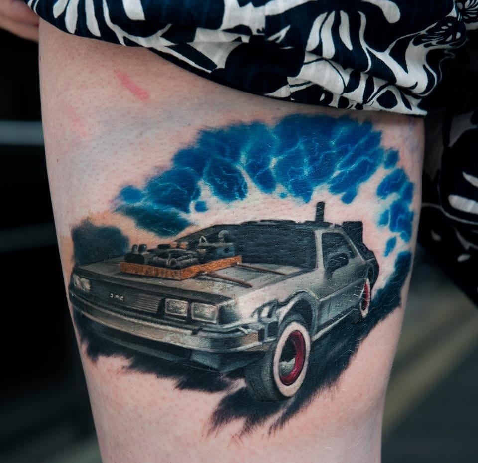 Crazy looking Delorean Tattoo from Dublin Ink