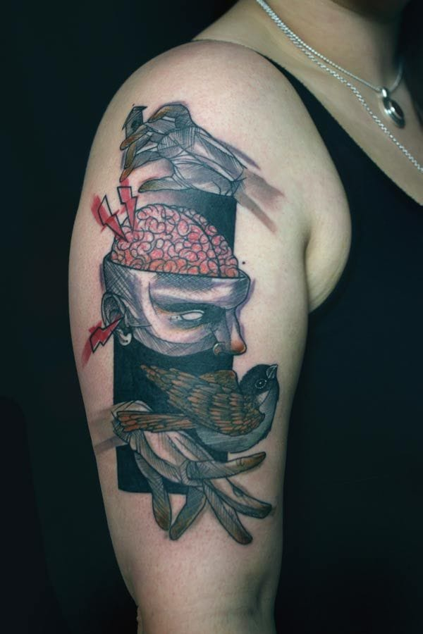 Graphic tattoo by Peter Aurisch.