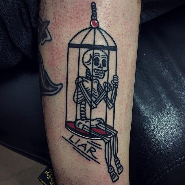 Funny skeleton by Vinz Flag. birdcage tattoos