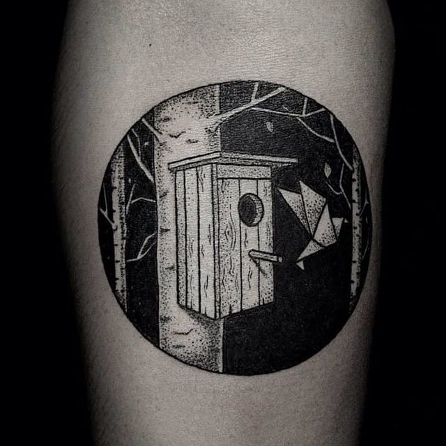15 Cosy And Cute Birdhouse Tattoos