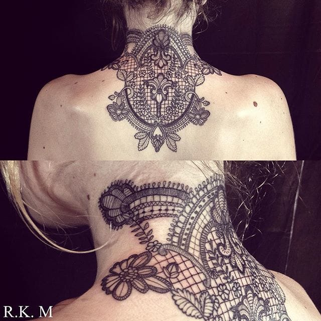 Refined nape tattoo by Riki-Kay Middleton.