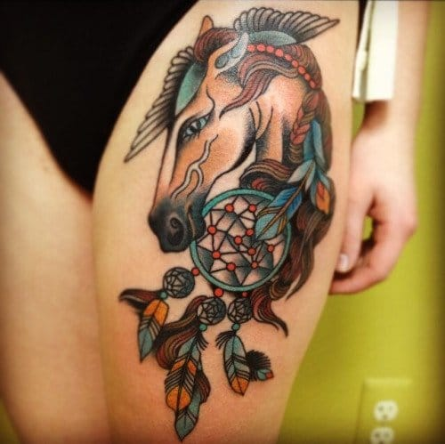 Horse Dreamcatcher Tattoo by Jen Munford