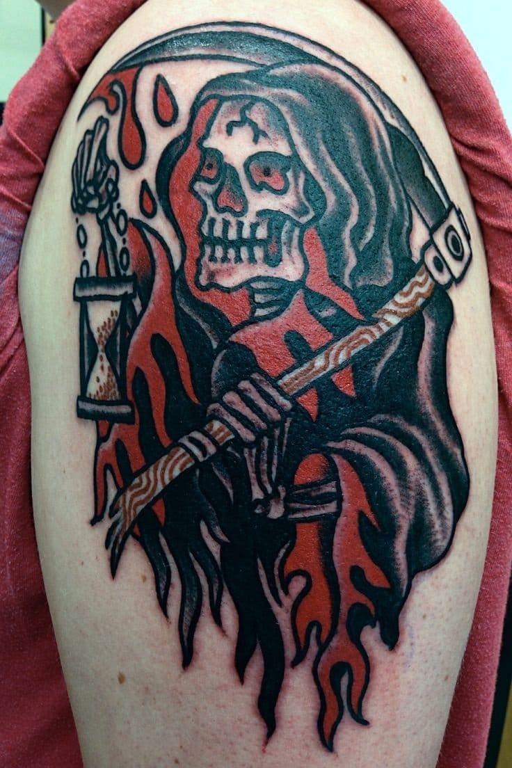 Solid reaper tattoo holding an hourglass